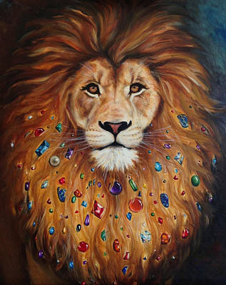 Lion Of Judah Painting - Tribal Lion With Dark Background by Marguerite Anderson