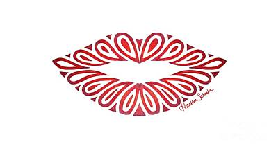 Sweet Kiss Drawing - Tribal Lips by Heather Schaefer