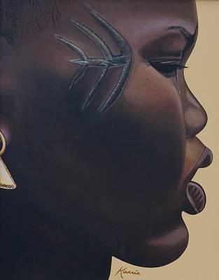 African American Artist Painting - Tribal Mark by Kaaria Mucherera