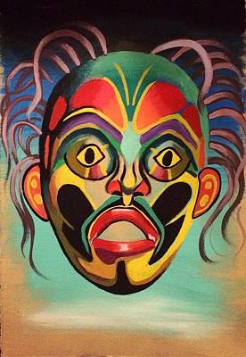 Indian Tribal Art Painting - Tribal Mask by Britt Kuechenmeister