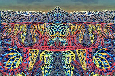 City Sunset Digital Art - Tribal Mountain by AR Teeter