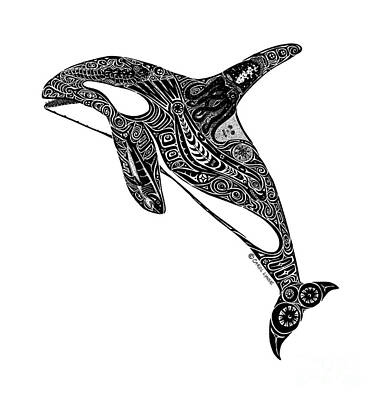 Whale Drawing - Tribal Orca by Carol Lynne