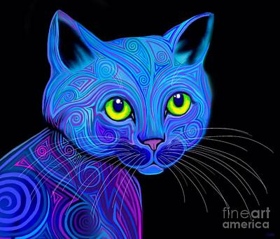 Digital Art - Tribal Rainbow Cat by Nick Gustafson