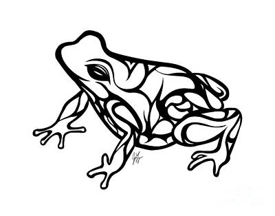 Frogs Drawing - Tribal Ribbet  by Jamie Lynn