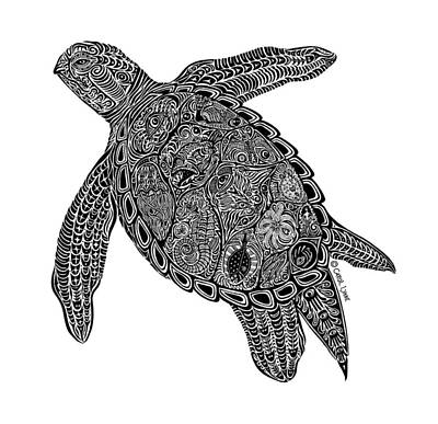 Scuba Diving Drawing - Tribal Turtle I by Carol Lynne