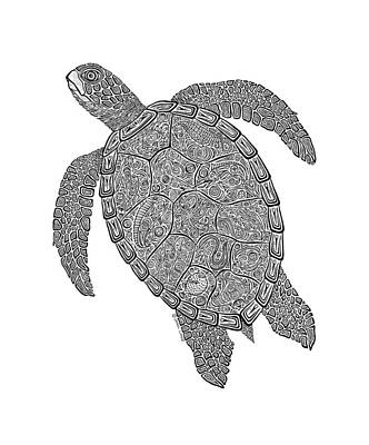 Scuba Diving Drawing - Tribal Turtle II by Carol Lynne