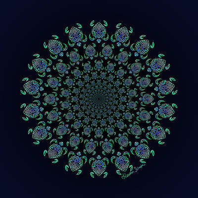 Digital Art - Tribal Turtle Tunnel by Heather Schaefer