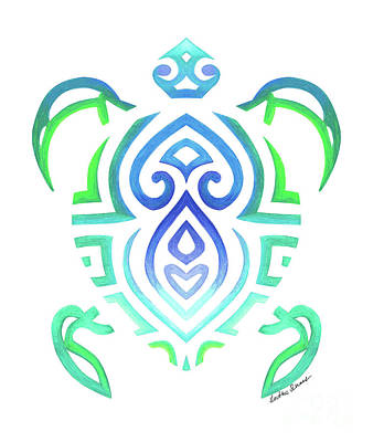 Drawing - Tribal Turtle White Background by Heather Schaefer