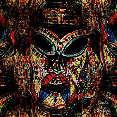 Drawing - Tribal Warrior Mask by Natalie Holland