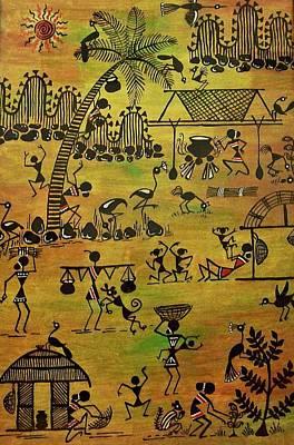 Warli Painting - Tribals I by Ivy Sharma