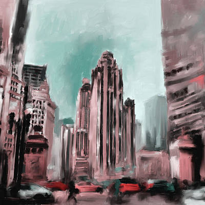 Painting - Tribune Tower I 522 2 by Mawra Tahreem