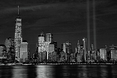 Photograph - Tribute In Light  # 7 - B  And  W by Allen Beatty