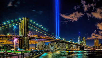 Photograph - Tribute In Light 2015 - Brooklyn Bridge by Nick Zelinsky
