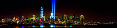 911 Memorial Photograph - Tribute In Light From Bayonne by Nick Zelinsky