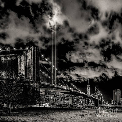 Photograph - Tribute Light By Brooklyn -bw by Nick Zelinsky