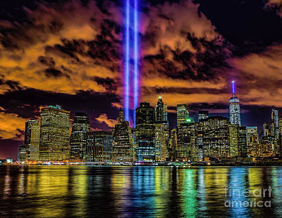 Photograph - Tribute Lights Over Manhattan by Nick Zelinsky