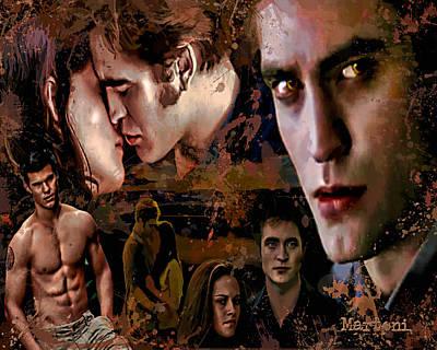 Martoni Painting - Tribute To Eclipse Pattinson Stewart Lautner by Alex Martoni