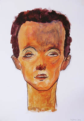 Tribute To Egon Schiele Original by Husnu Konuk