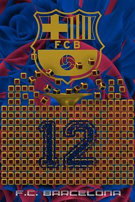 Barcelona Digital Art - Tribute To F.c.barcelona by Alberto RuiZ
