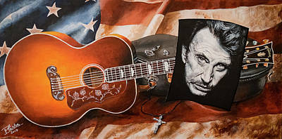 Painting - Tribute To Johnny Hallyday by Pascal Martos