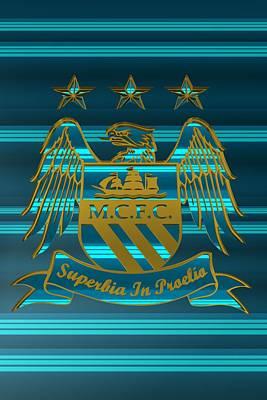 Great Britain Digital Art - Tribute To Manchester City 3 by Alberto RuiZ