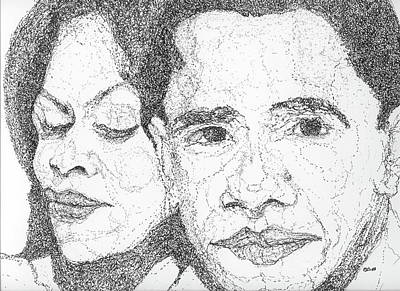 Michelle Obama Drawing - Tribute To Michelle And Barack Obama by Michelle Gilmore