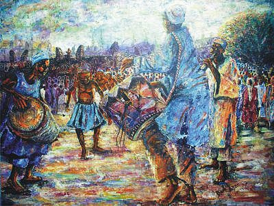 Painting - Tribute To The Royal Fathers by Bankole Abe