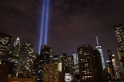Photograph - Twin Beam Tribute To The Towers by Jeff at JSJ Photography