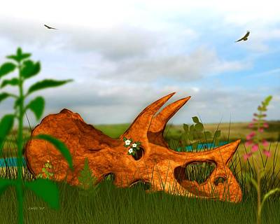 Digital Art - Triceratops 68 M Years Later by John Wills