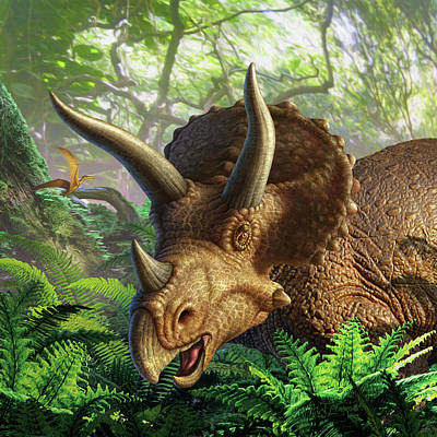 Dino Digital Art - Triceratops by Jerry LoFaro