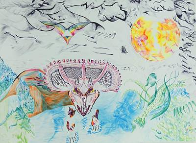 Abstact Landscapes Painting - Triceratops Metamorphisis by Contemporary Michael Angelo