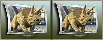 Mixed Media - Triceratops - Oof 3d Stereo X-view by Brian Wallace