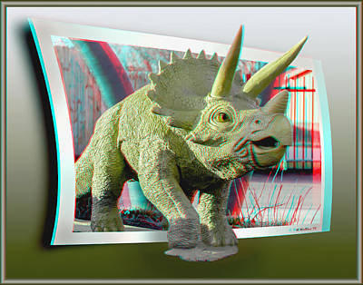 Mixed Media - Triceratops - Oof 3d Stereo Anaglyph by Brian Wallace