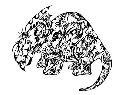 Rorschach Drawing - Triceratops by Thomas Coleman