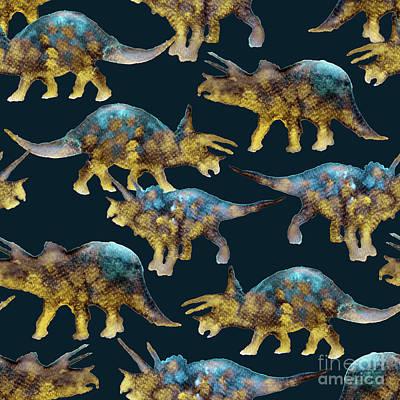 Dinosaurs Painting - Triceratops by Varpu Kronholm
