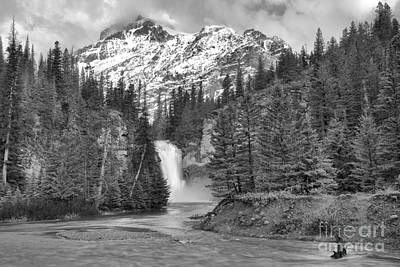 Photograph - Trick Falls Into The Swollen Creek Black And White by Adam Jewell