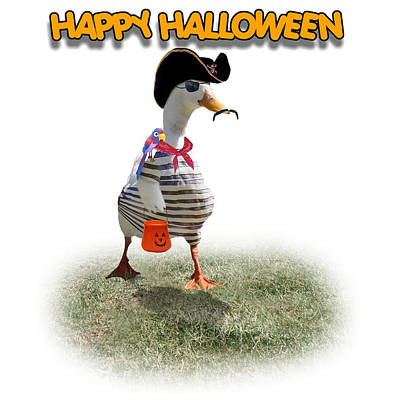 Hallow Mixed Media - Trick Or Treat For Cap'n Duck by Gravityx9 Designs