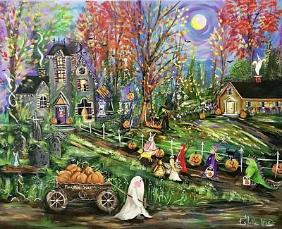 Haunted House Painting - Trick Or Treat Night by Estelle Grengs