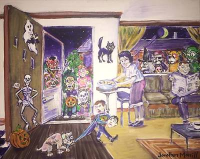 Trick Or Treat On Exeter Street Art Print