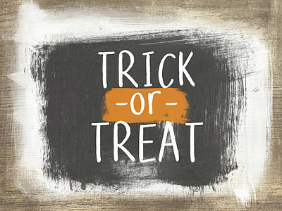 Trick Or Treat Sign- Art By Linda Woods Art Print by Linda Woods