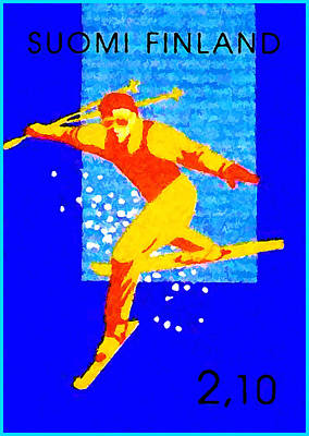 Alpine Skier Painting - Trick Skiing by Lanjee Chee
