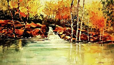 Painting - Trickling Spring In Autumn by Al Brown
