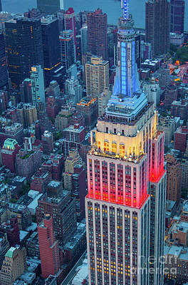 Tricolor Empire State Building Art Print by Inge Johnsson