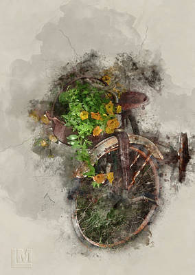 Digital Art - Tricycle With Flowers by Len Moser