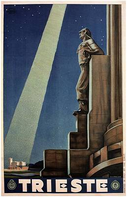 Trieste, Italy - View Of The Statue Of A Man - Retro Travel Poster - Vintage Poster Art Print