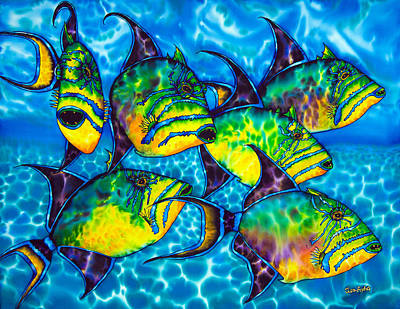 Triggerfish Painting - Trigger Fish - Caribbean Sea by Daniel Jean-Baptiste