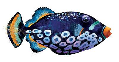 Nautilus Digital Art - Trigger Fish by Trevor Irvin