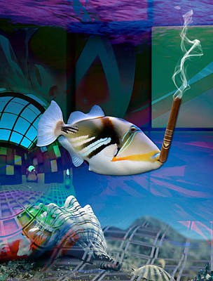Mixed Media -  Triggerfish Art by Marvin Blaine