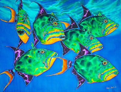 Triggerfish Painting - Queen Triggerfish by Daniel Jean-Baptiste
