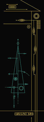 Art Nouveau Style Mixed Media - Trigonal On Black by IaPo